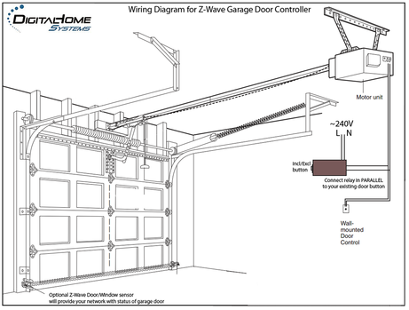DHS Z-Wave Garage Door Controller Wiring Diagram